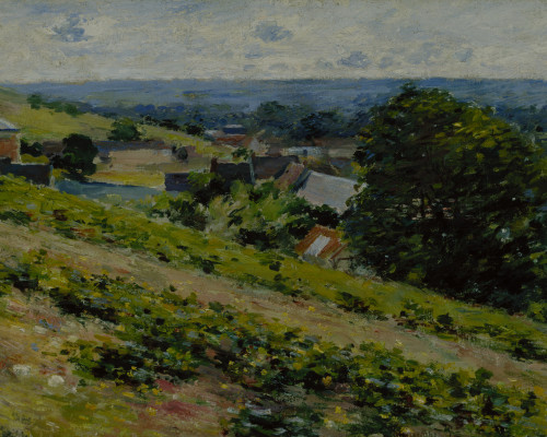 Theodore Robinson,  From the Hill, Giverny, between 1889 and 1892,  oil on canvas, 15 7/8 x 25 7/8 in. (40.3 x 65.7 cm), Terra Foundation for American Art, Daniel J. Terra Collection, 1987.6