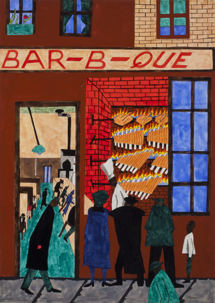 Jacob Lawrence, Bar-b-que, 1942, opaque watercolor (gouache) on wove paper, 30 7/8 x 22 1/2in. (78.4 x 57.2cm), Terra Foundation for American Art, Daniel J. Terra Art  Acquisition Endowment Fund, 2013.1