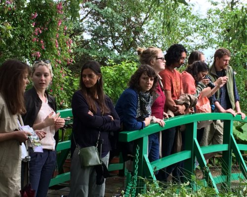 2016 Terra Summer Residency senior artist Huma Mulji (3rd from left) and fellows visit Claude Monet's iconic garden during their eight-week stay in Giverny, France.
