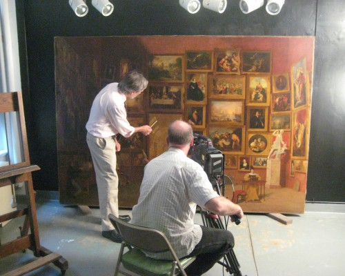 "Filming the video A New Look: Samuel F. B. Morse's ""Gallery of the Louvre."""