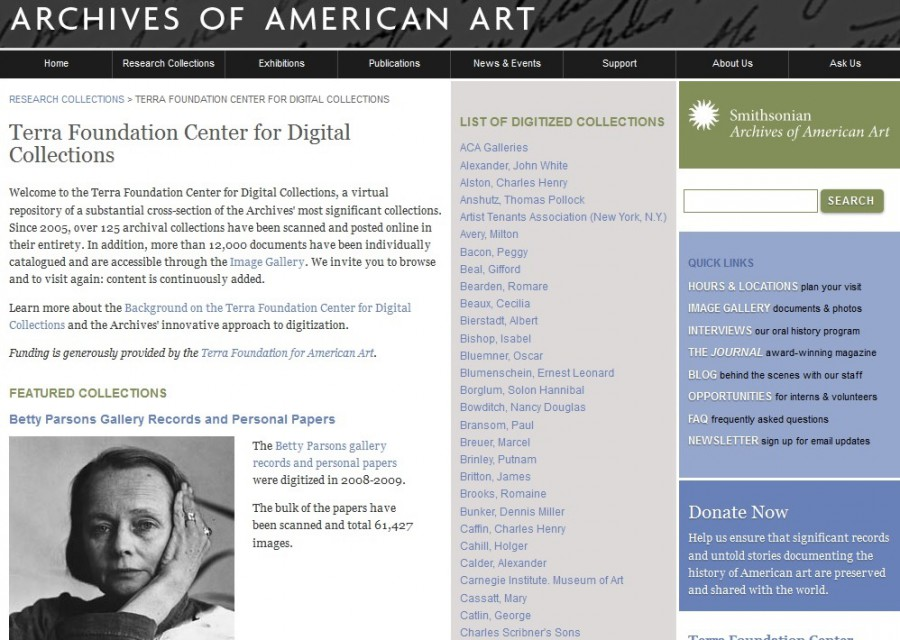 The Terra Foundation Center for Digital Collections  at the Archives of American Art contains nearly 3 million files.