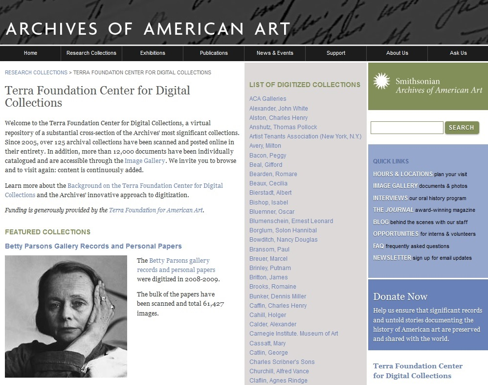 Homepage of the Terra Foundation Center for Digital Collections  at the Archives of American Art.