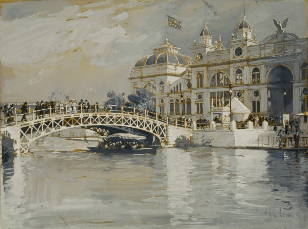 "Childe Hassam, Columbian Exposition, Chicago, 1892, gouache ""en grisaille"" over graphite on tan wove paper, 10 5/8 x 14 in. (27.0 x 35.6 cm), Terra Foundation for American Art, Daniel J. Terra Collection, 1992.38"