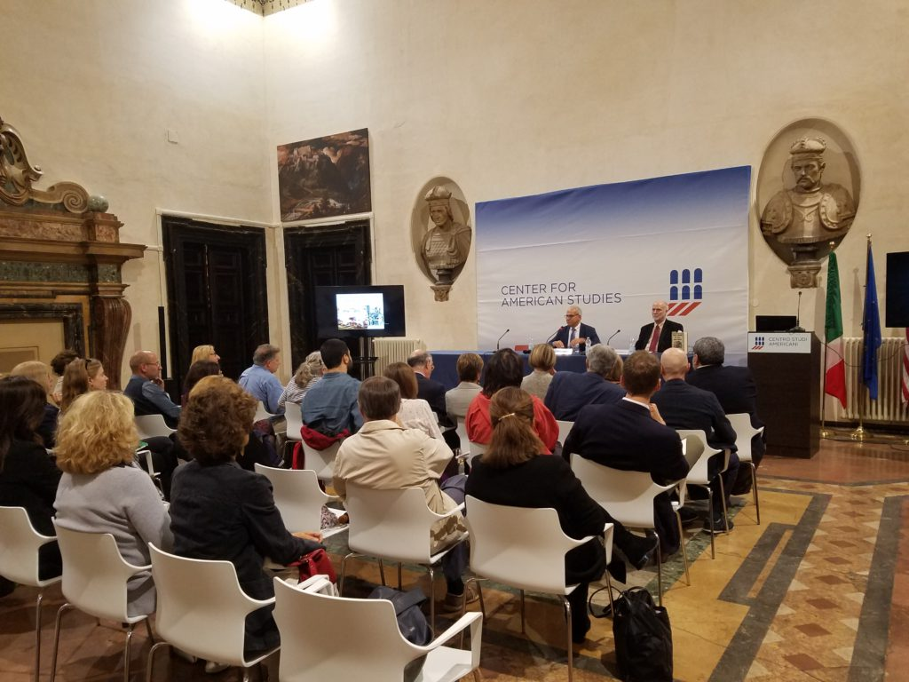 """Don H. Doyle, McCausland Professor of History at the University of South Carolina, delivers the keynote address at the international conference """"Hybrid Republicanism: Italy and American Art, 1840–1918,"""" at the Centro Studi Americani, in Rome, on October 6, 2016."""