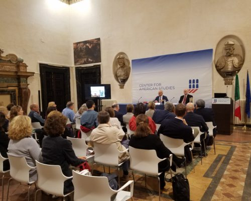 "Don H. Doyle, McCausland Professor of History at the University of South Carolina, delivers the keynote address at the international conference ""Hybrid Republicanism: Italy and American Art, 1840–1918,"" at the Centro Studi Americani, in Rome, on October 6, 2016."