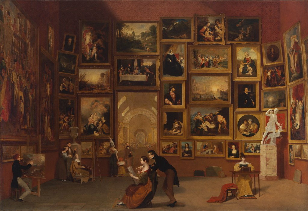 Samuel F. B. Morse, Gallery of the Louvre, 1831‒1833, oil on canvas, 73 3/4 x 108 in. (187.3 x 274.3 cm), Terra Foundation for American Art, Daniel J. Terra Collection, 1992.51