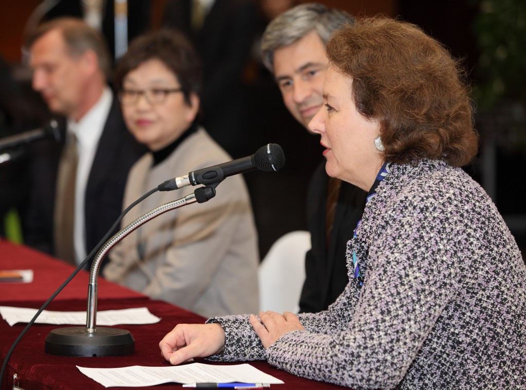 Terra Foundation President & CEO Elizabeth Glassman speaks at a press conference at the National Museum of Korea, in Seoul.