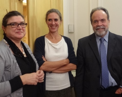 L to R: Terra Foundation Paris Center staff Ewa Bobrowska and Veerle Thielemans with Thomas Crow.