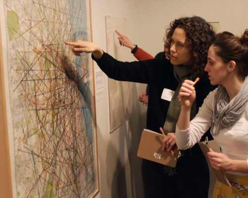 Museum educators Sarah Alvarez (left) and Melissa Covington Tanner, participants in the Terra Foundation's American Art at the Core of Learning initiative, discuss an artwork at the Museum of Contemporary Art, Chicago.