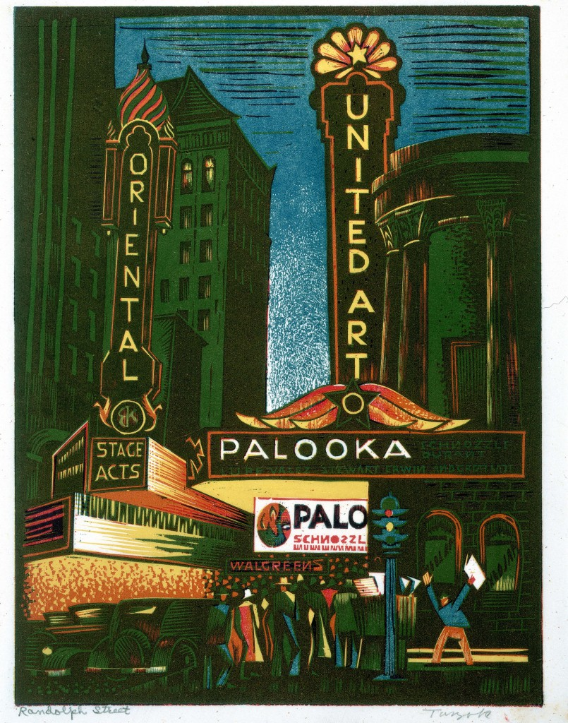 Painting of a theater marquee with people standing beneath.
