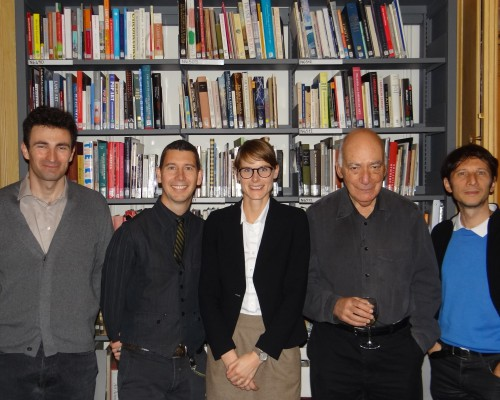 L to R: Cyril Crignon,  Michael Schreyach, Eva Ehninger, Michael Fried, and Riccardo Venturi at the Terra Foundation Paris Center & Library.