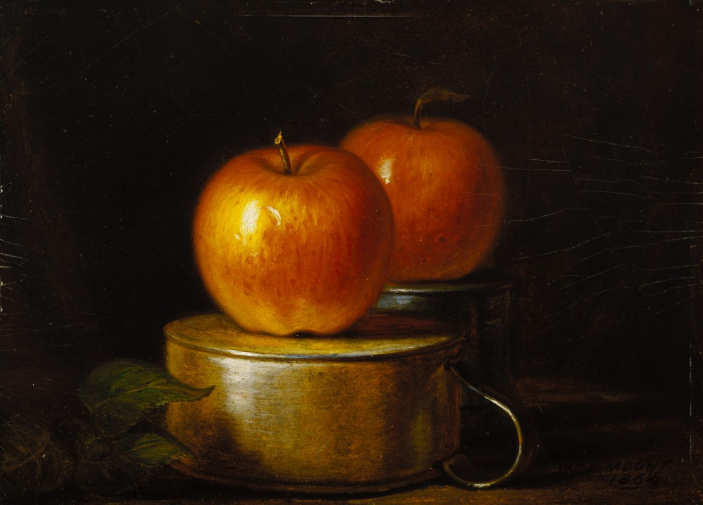 William Sidney Mount, Fruit Piece: Apples on Tin Cups, 1864, oil on academy board, 6 1/2 x 9 1/16 in. (16.5 x 23.0 cm), Terra Foundation for American Art, Daniel J. Terra Collection, 1999.100