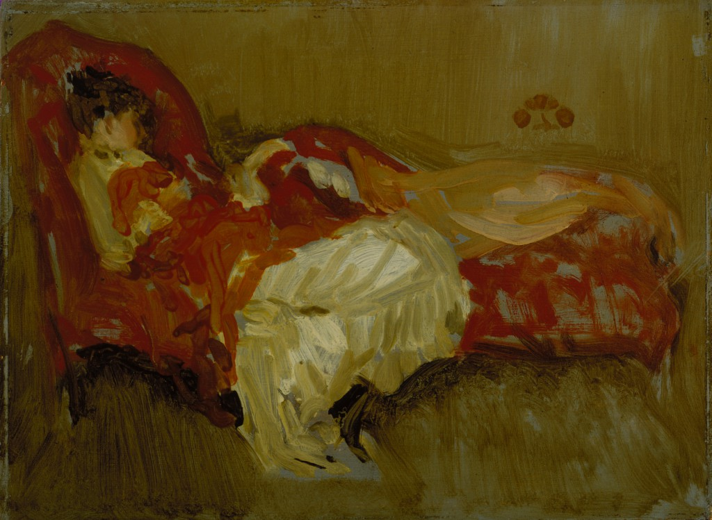 James McNeill Whistler, Note in Red: The Siesta, by 1884. Oil on panel, Image: 8 5/16 x 12 in. (21.1 x 30.5 cm) Frame: 15 3/4 x 18 3/4 in. (40.0 x 47.6 cm), Terra Foundation for American Art, Daniel J. Terra Collection, 1999.149