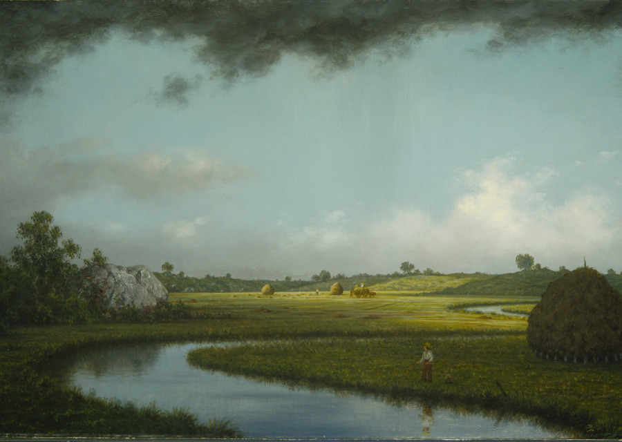 Martin Johnson Heade, Newburyport Marshes: Approaching Storm, c. 1871, oil on canvas, 15 1/4 x 30 1/8 in. (38.7 x 76.5 cm), Terra Foundation for American Art, Daniel J. Terra Collection, 1999.68