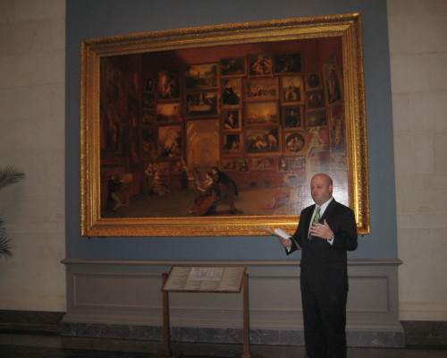 "Terra Foundation Curator Peter John Brownlee at the symposium ""Samuel F. B. Morse's 'Gallery of the Louvre' in Focus"""
