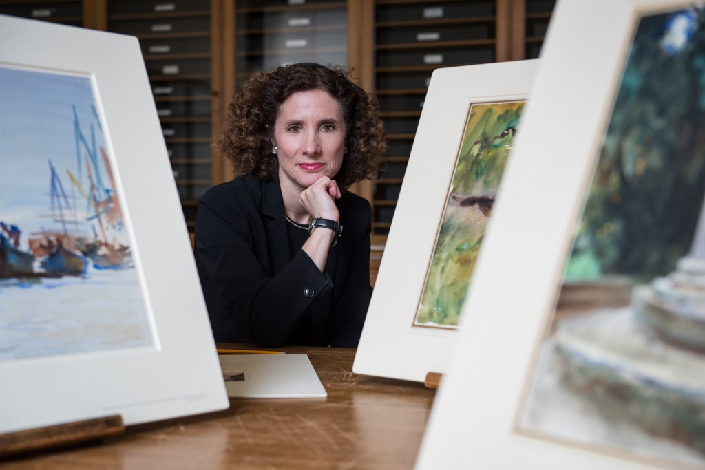 Professor Geraldine Johnson, Head of the History of Art Department at the University of Oxford, with watercolors by American artist John Singer Sargent in Oxford's Ashmolean Museum. (Photo © John Cairns)