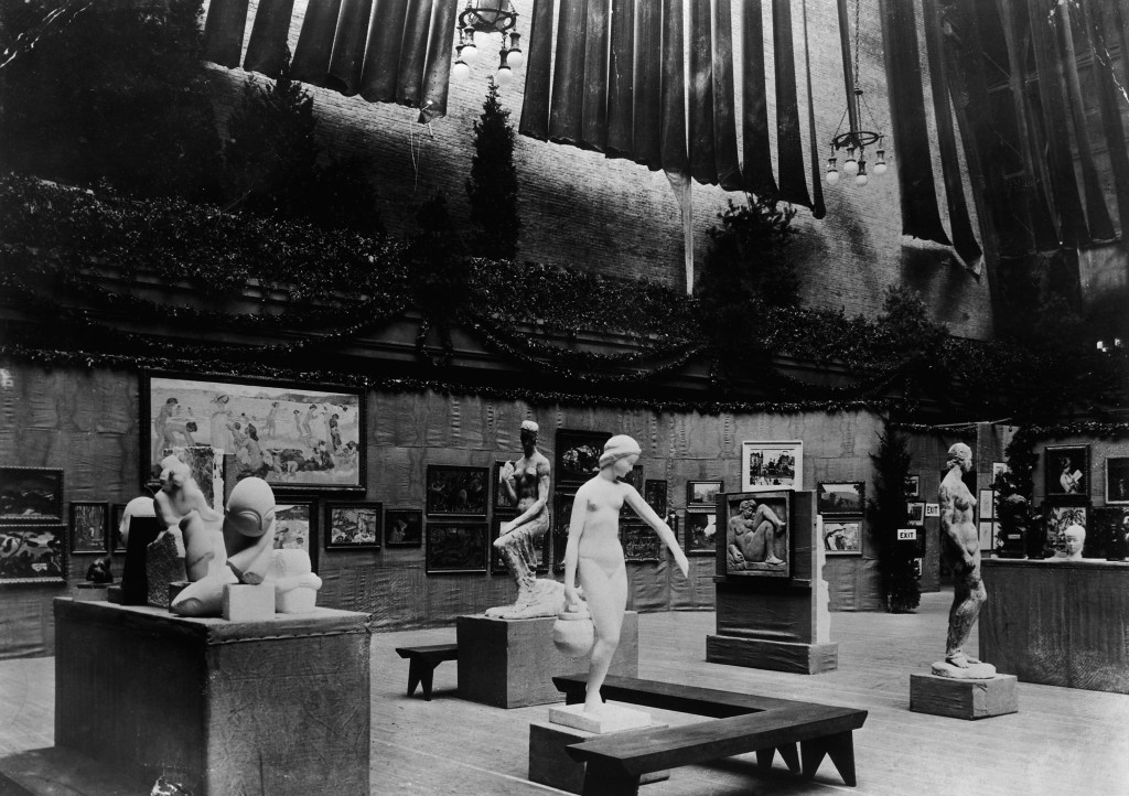 Installation view of the the International Exhibition of Modern Art, better known as the Armory Show, held in New York in 1913.