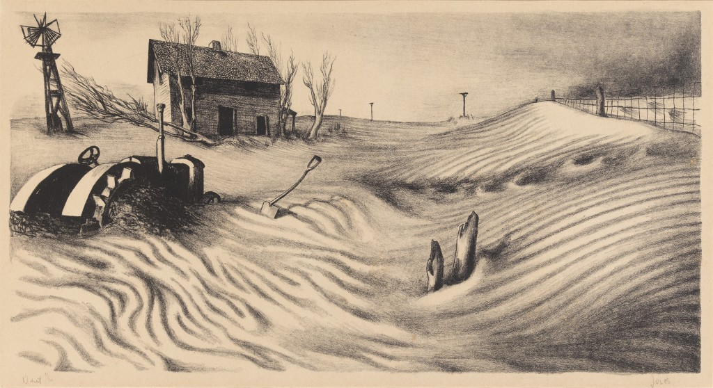 Mervin Jules (1912-1994) Dust, ca. 1936 7 3/4 x 14 3/8 in (19.7 x 36.8 cm)  Print-Lithograph Mary and Leigh Block Museum of Art, Northwestern University, 1994.107