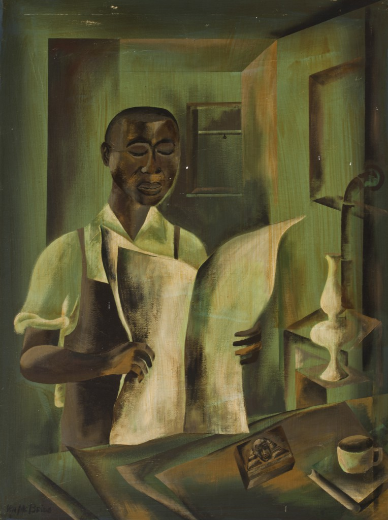 William McBride (1913–2000)  Robert Abbott Founds the Chicago Defender, 1963 Oil on canvas 36 x 46 ½ in. (91.4 x 118.1 cm)  DuSable Museum of African American History, 1987.15.22
