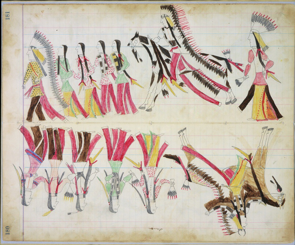 Black Horse Black Horse Ledger, ca. 1877-1879 Pages 180-181 Newberry Library, Edward E. Ayer Collection, MS 3227