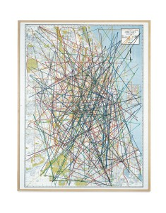 John Cage (1912–1992)  A Dip in the Lake: Ten Quicksteps, Sixty-two Waltzes, and Fifty-six Marches for Chicago and Vicinity, 1978 53-1/2 x 41-1/2 in. (135.9 x 105.4 cm)  Felt-tip pen on map Collection Museum of Contemporary Art Chicago, restricted gift of MCA Collectors Group, Men's Council, and Women's Board; and National Endowment for the Arts Purchase Grant; 1982.19  © John Cage Trust, Photo © MCA Chicago