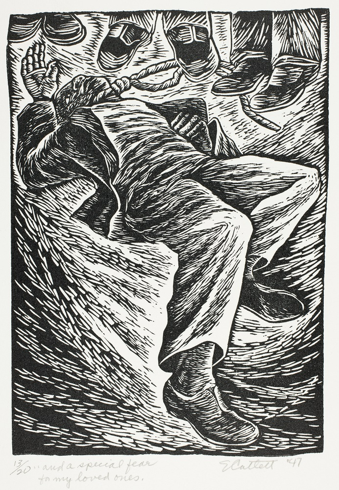 Elizabeth Catlett (1915–2012)  And A Special Fear For My Loved Ones, 1946-47 Linocut on cream wove paper Image: 8.4 x 6 in. (213 x 153 mm)  Sheet: 15.2 x 11.2 in. (385 x 285 mm)  The Art Institute of Chicago, restricted gift of the Leadership Advisory Committee, 2005.142.3.  Art © Catlett Mora Family Trust/Licensed by VAGA, New York, NY