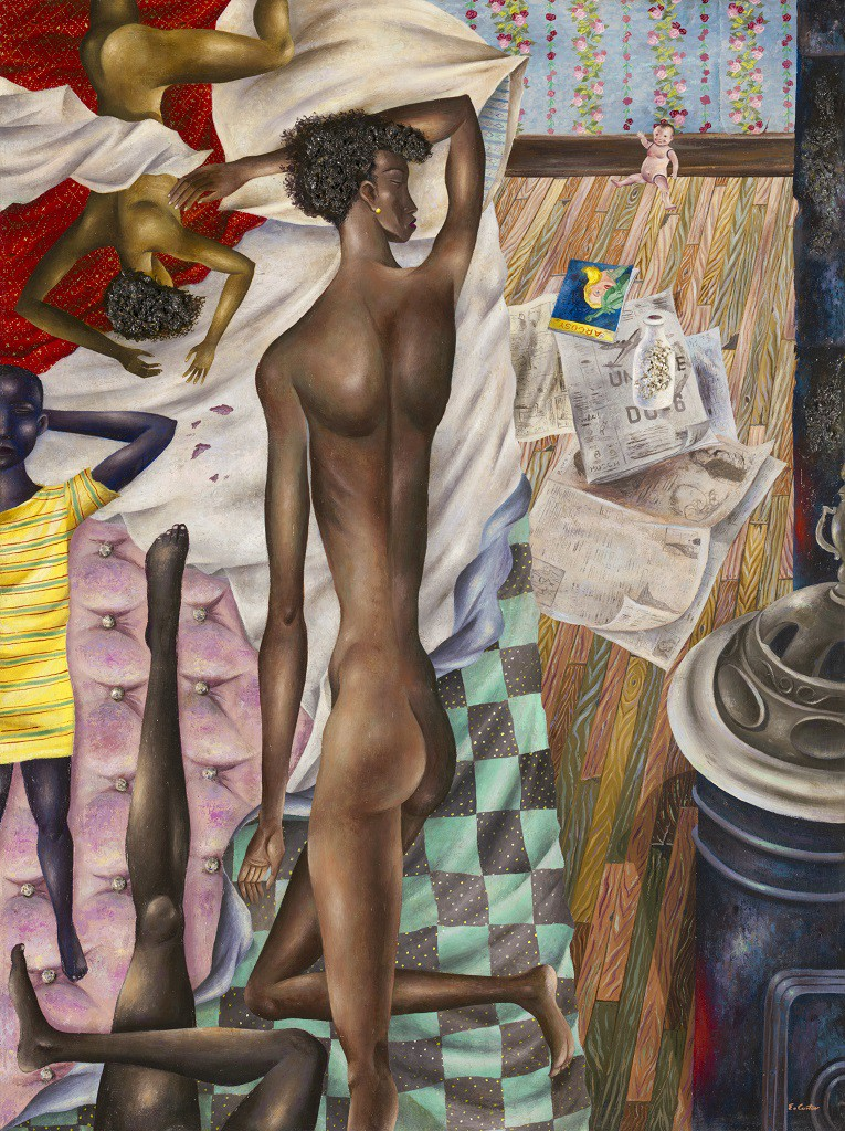 Eldzier Cortor (born 1916)  The Room No. VI , 1948  Oil and gesso on masonite  42 ¼ x 31 ½ in. (107.3 x 80 cm)  The Art Institute of Chicago, through prior acquisition of Friends of American Art and Mr. and Mrs. Carter H. Harrison; through prior gift of the George F. Harding Collection, 2007.329  © Eldzier Cortor; Courtesy of Michael Rosenfeld Gallery LLC, New York, NY.