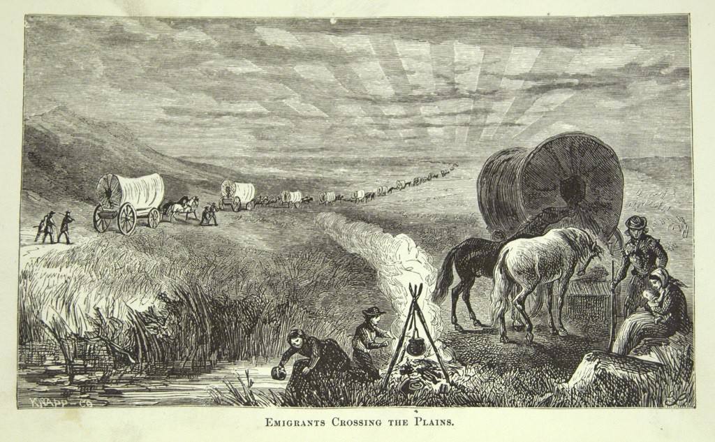 Emigrants Crossing the Plains   In Samuel Bowles, Our New West (Hartford, Ct.: Hartford Pub. Co., 1869): 29.  Engraving Newberry Library G 89 .1103