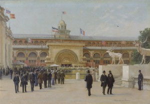 Frank Russell Green (1856–1940) Golden Doorway of the Transportation Building: World's Columbian Exposition, 1893, 1893 Oil on canvas 18 x 26 in. (45.7 x 66 cm)  Chicago History Museum, Gift of Western Reserve Academy  1943.28, ICHi-66188