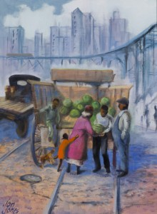 Jon Jones (born 1924)  Under the El (train)-Selling Watermelons, 1992 Oil on canvas 18 ½ x 23 in. (47 x 58.4 cm)  DuSable Museum of African American History, 1993.16.7
