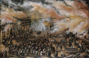 Julia Lemos (ca. 1842–1923)  Memories of the Chicago Fire in 1871, 1912 Oil on canvas 25 ¼ x 38 in.  (64.1 x 96.5 cm)  Chicago History Museum, Gift of Mr. and Mrs. Dennis D. O'Keefe 1918.10, ICHi-62293