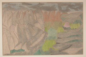 Joseph Elmer Yoakum (1890–1972)  Mt. Brenda Brenda in Great Dividing Range, ca. 1968  Pen and watercolor on paper 12 x 18 in. (30.5 x 45.7 cm)  Intuit: The Center for Intuitive and Outsider Art, 2002.6