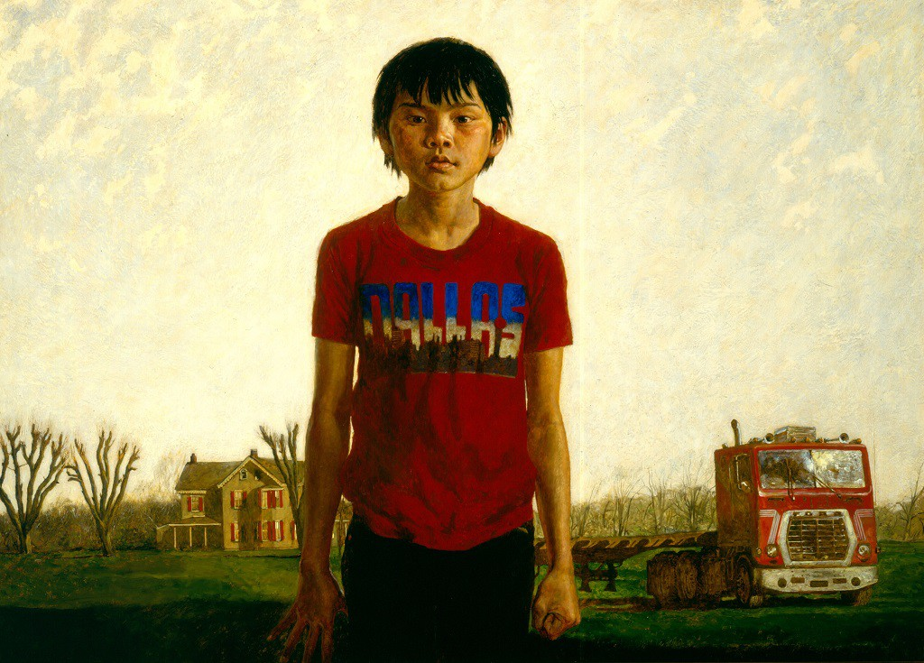 Jamie Wyeth, (born, 1946)  Kalounna in Frogtown , 1986  Oil on Masonite  36 x 50 1/8 in. (91.4 x 127.3 cm)  Terra Foundation for American Art, Daniel J. Terra Collection, 1992.163
