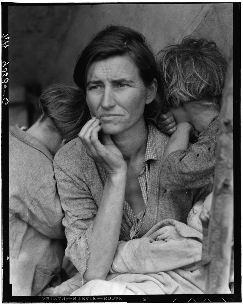 Dorothea Lange (1895–1965) Migrant Mother, Nipomo, California, 1936 Gelatin silver print (retouched version) Image: 13 1/2 x 10 3/4 in. (34.3 x 27.3 cm)  Paper: 14 x 11 in. (35.6 x 27.9 cm)  LC-USF34-9058-C (film negative). Location: FSA/OWI - J339168  Library of Congress, image online at: http://www.loc.gov/rr/print/list/128_migm.html