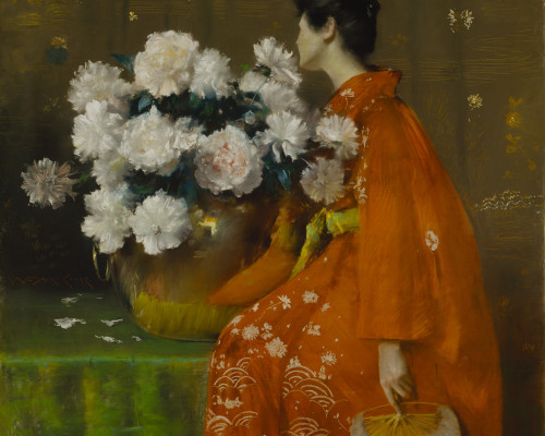 William Merritt Chase,  Spring Flowers (Peonies), by 1889, 48 x 48 in. (121.9 x 121.9 cm), Terra Foundation for American Art, Daniel J. Terra Collection, 1999.32