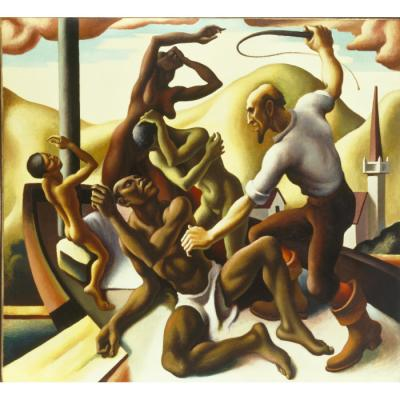 Thomas Hart Benton, Slaves, 1925, oil on cotton duck mounted on board, 66 7/16 x 72 3/8 x 1 7/16 in. (168.8 x 183.8 x 3.7 cm), Terra Foundation for American Art, Daniel J. Terra Collection, 2003.4