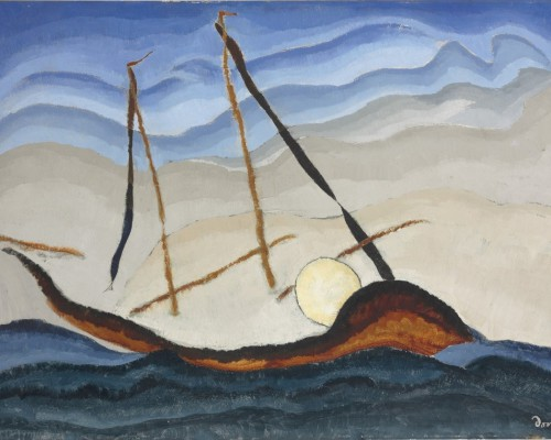 Arthur Dove, Boat Going Through Inlet, c. 1929, oil on tin, 20 1/8 x 28 1/4 in.  (51.4 x 71.8 cm), Terra Foundation for American Art, Daniel J. Terra Art Acquisition Endowment Fund, 2015.6