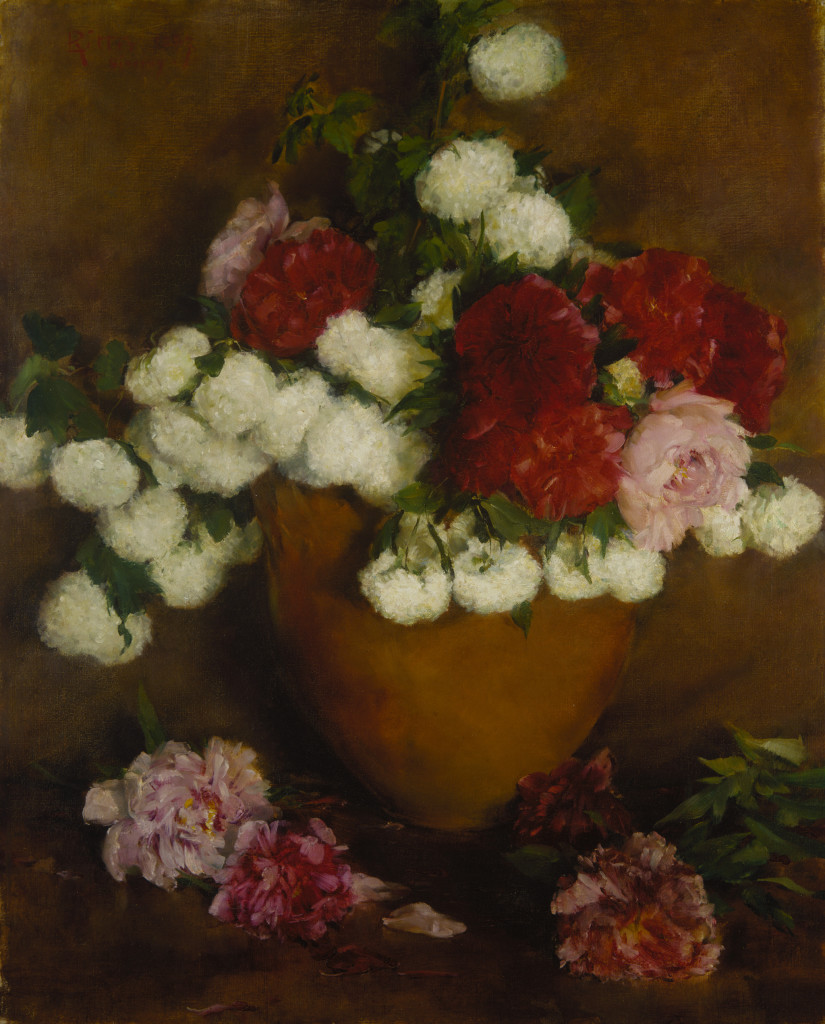 Louis Ritter, Flowers: Peonies and Snowballs, 1887, oil on canvas, 39 3/4 × 32 5/16 in. (101 × 82.1 cm), Terra Foundation for American Art, Daniel J. Terra Collection, 1987.29