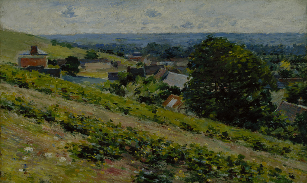 Theodore Robinson, From the Hill, Giverny, between 1889–1892, oil on canvas, 15 7/8 x 25 7/8 in. (40.3 x 65.7 cm), Terra Foundation for American Art, Daniel J. Terra Collection, 1987.6