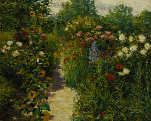 John Leslie Breck,  Garden at Giverny (In Monet's Garden), between 1887 and 1891, oil on canvas, 18 1/8 x 21 7/8 in. (46.0 x 55.6 cm), Terra Foundation for American Art, Daniel J. Terra Collection, 1988.22