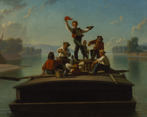 George Caleb Bingham, The Jolly Flatboatmen, 1877-78, oil on canvas, 26 1/16 x 36 3/8 in. (66.2 x 92.4 cm), Terra Foundation for American Art, Daniel J.  Terra Collection, 1992.15
