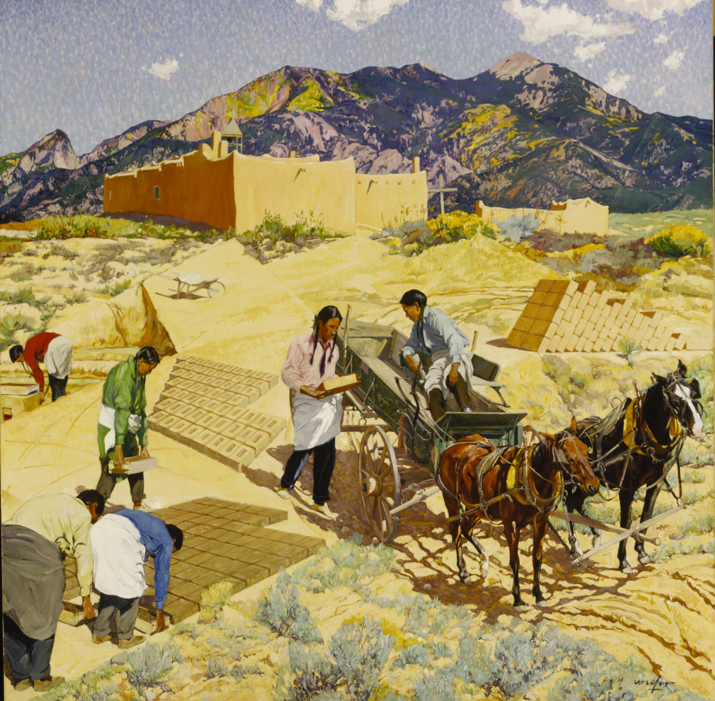 Walter Ufer, Builders of the Desert, 1923, oil on canvas laid down on aluminum, 50 1/8 x 50 1/8 in. (127.3 x 127.3 cm), Terra Foundation for American Art, Daniel J. Terra Collection, 1992.174