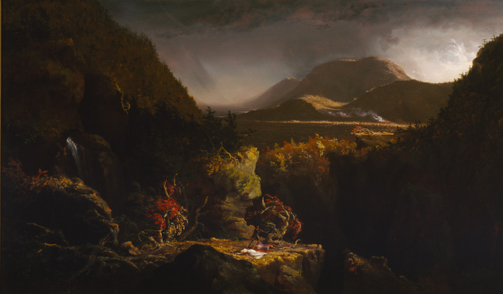 """Thomas Cole, Landscape with Figures: A Scene from """"The Last of the Mohicans"""", 1826, oil on panel, 26 1/8 x 43 1/16 in. (66.4 x 109.4 cm), Terra Foundation for American Art, Daniel J. Terra Collection, 1993.2"""