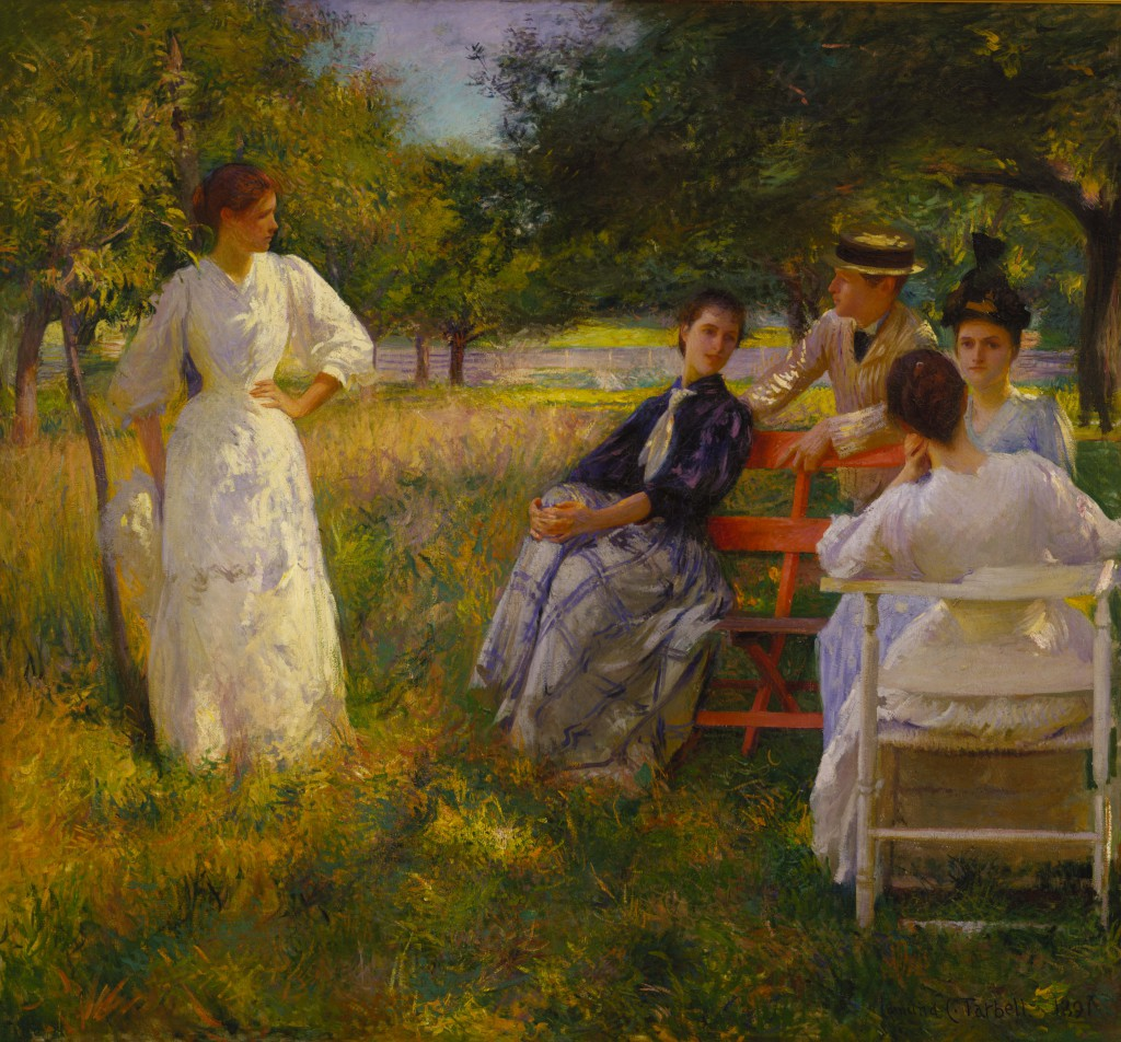 Edmund Tarbell, In the Orchard, 1891, oil on canvas, 60 3/4 x 65 1/2 in. (154.3 x 166.4 cm), Terra Foundation for American Art, Daniel J. Terra Collection, 1999.141