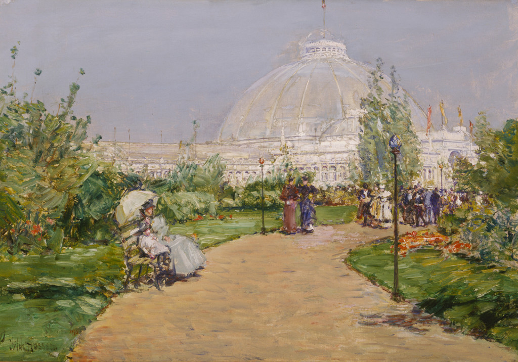 Childe Hassam, Horticulture Building, World's Columbian Exposition, Chicago, 1893, oil on canvas, 18 1/2 x 26 1/4 in. (47.0 x 66.7 cm), Terra Foundation for American Art, Daniel J. Terra Collection, 1999.67