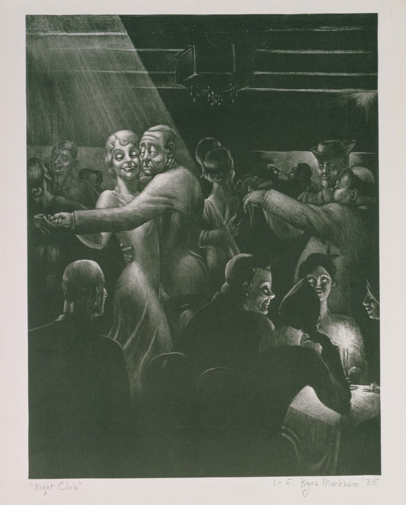 Kyra Markham,Night Club, 1935, Lithograph on cream wove paper, 13 3/4 x 10 1/2 in. (34.9 x 26.7 cm), Terra Foundation for American Art, Daniel J. Terra Collection, 1996.74