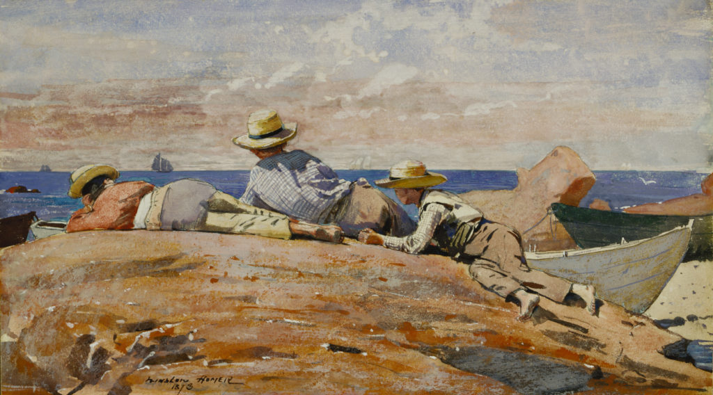 Winslow Homer, Three Boys on the Shore, 1873, Gouache and watercolor on paper mounted on board, 8 5/8 x 13 5/8 in. (21.9 x 34.6 cm), Terra Foundation for American Art, Daniel J. Terra Collection, 1999.75