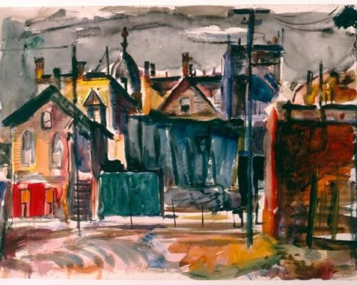 Francis Chapin,  City Scene, c. 1940, watercolor and fiber-tipped orange pen on ivory wove watercolor paper, sheet: 15 5/8 x 22 3/4 in. (39.7 x 57.8 cm), Terra Foundation for American Art, Gift of Bridges Collection, C1994.23