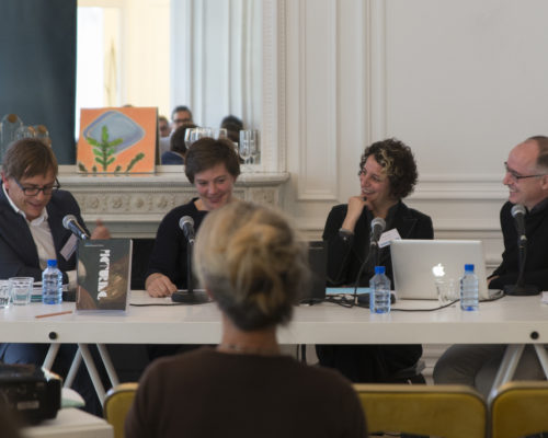 "(L to R) Ralph Ubl, Beate Fricke, Rachael Z. Delue, and Antonio Somaini participate in a roundtable discussion at the international conference ""Rethinking Pictures: A Transatlantic Dialogue."""