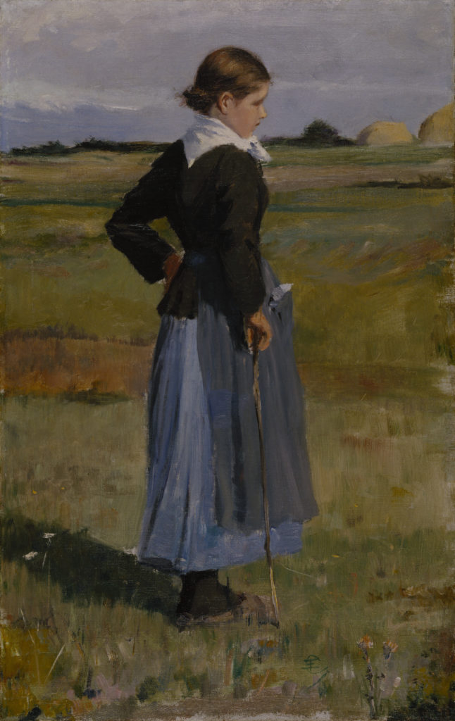 Childe Hassam French Peasant Girl, c. 1883, Oil on canvas, 21 5/8 x 13 7/8 in. (54.9 x 35.2 cm), Terra Foundation for American Art, Daniel J. Terra Collection, 1989.21